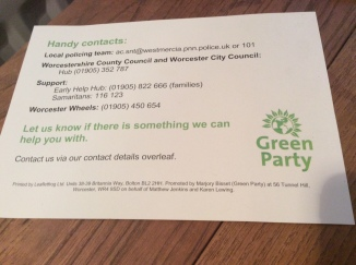 Green party postcard back